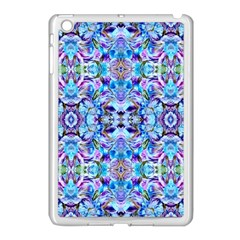 Elegant Turquoise Blue Flower Pattern Apple iPad Mini Case (White)
