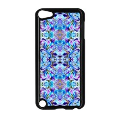Elegant Turquoise Blue Flower Pattern Apple iPod Touch 5 Case (Black)