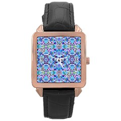 Elegant Turquoise Blue Flower Pattern Rose Gold Watches