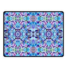 Elegant Turquoise Blue Flower Pattern Double Sided Fleece Blanket (Small)