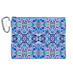 Elegant Turquoise Blue Flower Pattern Canvas Cosmetic Bag (XL)