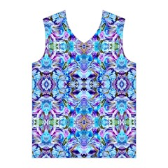 Elegant Turquoise Blue Flower Pattern Men s Basketball Tank Top