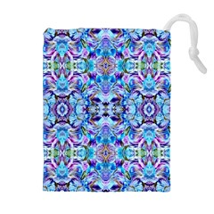 Elegant Turquoise Blue Flower Pattern Drawstring Pouches (Extra Large)