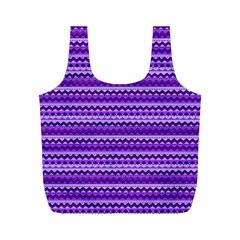 Purple Tribal Pattern Full Print Recycle Bags (M)
