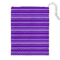Purple Tribal Pattern Drawstring Pouches (XXL)