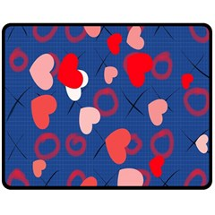 Hearts X s & O s Double Sided Fleece Blanket (Medium)