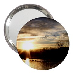 SETTING SUN AT LAKE 3  Handbag Mirrors