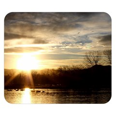 SETTING SUN AT LAKE Double Sided Flano Blanket (Small)