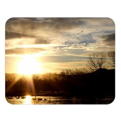 Setting Sun At Lake Double Sided Flano Blanket (large)