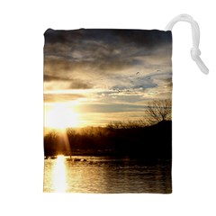 SETTING SUN AT LAKE Drawstring Pouches (Extra Large)