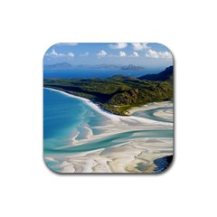 WHITEHAVEN BEACH 1 Rubber Coaster (Square)