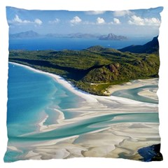 WHITEHAVEN BEACH 1 Large Flano Cushion Cases (Two Sides)