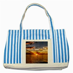 TAHITIAN SUNSET Striped Blue Tote Bag