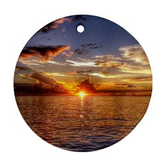 TAHITIAN SUNSET Round Ornament (Two Sides)