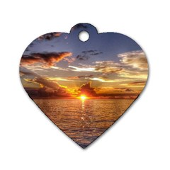 TAHITIAN SUNSET Dog Tag Heart (Two Sides)
