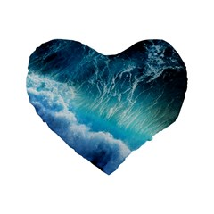 STORM WAVES Standard 16  Premium Flano Heart Shape Cushions