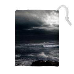 OCEAN STORM Drawstring Pouches (Extra Large)