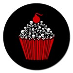 Skull Cupcake Magnet 5  (Round) Front