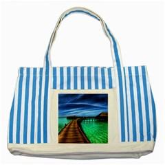 MALDIVES 2 Striped Blue Tote Bag