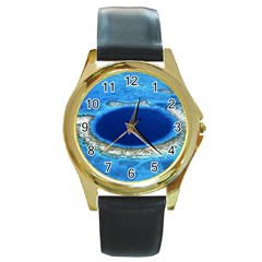 GREAT BLUE HOLE 2 Round Gold Metal Watches