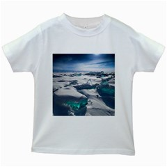 Turquoise Ice Kids White T Shirts