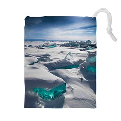 TURQUOISE ICE Drawstring Pouches (Extra Large)