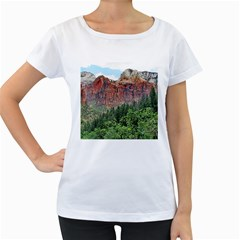 UPPER EMERALD TRAIL Women s Loose-Fit T-Shirt (White)
