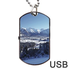 SNOWY MOUNTAINS Dog Tag USB Flash (Two Sides)