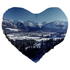 SNOWY MOUNTAINS Large 19  Premium Heart Shape Cushions