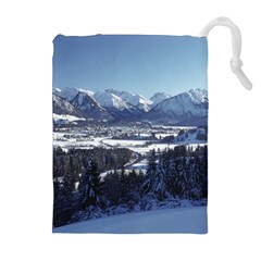SNOWY MOUNTAINS Drawstring Pouches (Extra Large)