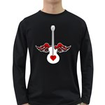 Flying Heart Guitar Long Sleeve Dark T-Shirt Front