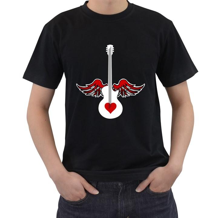 Flying Heart Guitar Men s T-Shirt (Black)