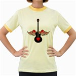 Flying Heart Guitar Women s Fitted Ringer T-Shirt Front