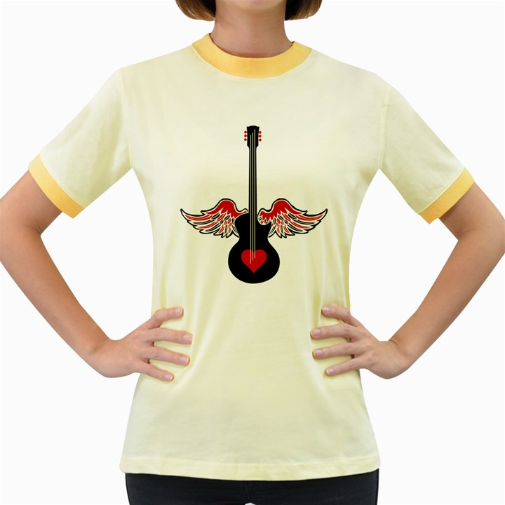 Flying Heart Guitar Women s Fitted Ringer T-Shirt