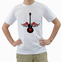 Flying Heart Guitar Men s T Shirt (white)
