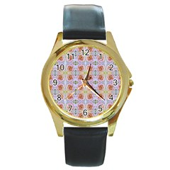 Pink Light Blue Pastel Flowers Round Gold Metal Watches