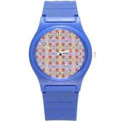Pink Light Blue Pastel Flowers Round Plastic Sport Watch (S)