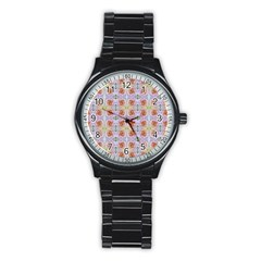 Pink Light Blue Pastel Flowers Stainless Steel Round Watches