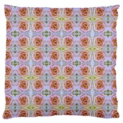 Pink Light Blue Pastel Flowers Large Flano Cushion Cases (Two Sides)
