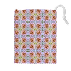Pink Light Blue Pastel Flowers Drawstring Pouches (extra Large)
