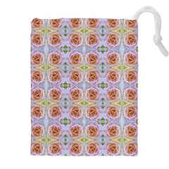 Pink Light Blue Pastel Flowers Drawstring Pouches (xxl)