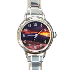 SAN GABRIEL MOUNTAIN SUNSET Round Italian Charm Watches