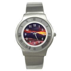 SAN GABRIEL MOUNTAIN SUNSET Stainless Steel Watches
