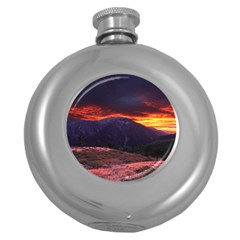 SAN GABRIEL MOUNTAIN SUNSET Round Hip Flask (5 oz)