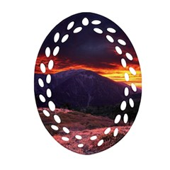SAN GABRIEL MOUNTAIN SUNSET Oval Filigree Ornament (2-Side)