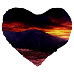 SAN GABRIEL MOUNTAIN SUNSET Large 19  Premium Heart Shape Cushions