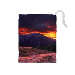 SAN GABRIEL MOUNTAIN SUNSET Drawstring Pouches (Medium)