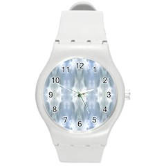 Ice Crystals Abstract Pattern Round Plastic Sport Watch (M)