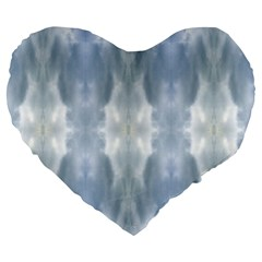 Ice Crystals Abstract Pattern Large 19  Premium Heart Shape Cushions