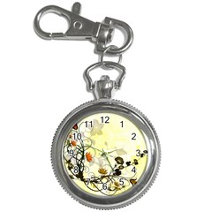 Wonderful Flowers With Leaves On Soft Background Key Chain Watches